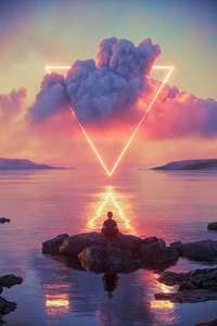640x960 Boy Meditating Life Triangle 4k