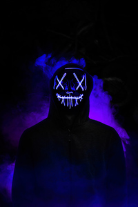 1242x2688 Boy Neon Mask Glowing 5k