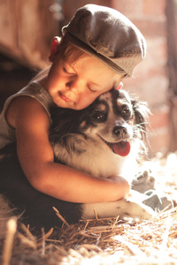 1080x2160 Boy Outdoors Hugging Dog 5k