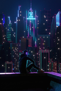1242x2688 Boy Sitting On Rooftop Neon Lights 5k