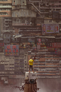 1080x1920 Boy With Gun Apocalypse Kowloon Walled City Art 5k