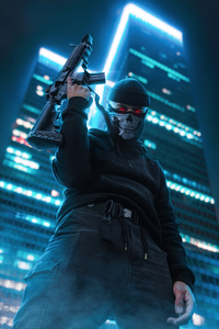 1080x2280 Boy With Skull Mask And Ak47