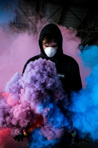 1080x2280 Boy With Smoke Bomb Colorful 5k
