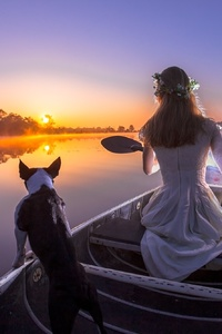 1440x2960 Bride With Dog On Boat