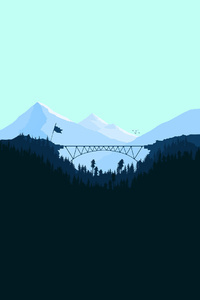 Bridge Between Two Mountains Forest Minimalism Artwork