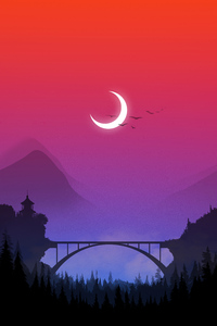 1440x2560 Bridge Sunset Minimal 4k