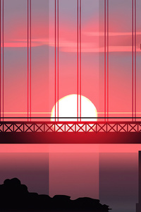 360x640 Bridge Sunset Minimal Art 4k