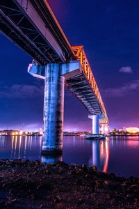 Bridge Under Water City Lights Colorful 5k