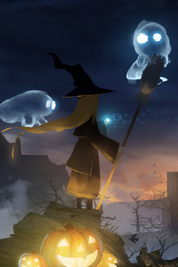 1080x2160 Broomstick Girl Wizard