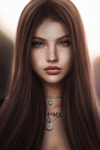1242x2688 Brown Silky Hair Fantasy Girl 5k