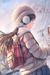 Brunette Anime Girl Snow Covered