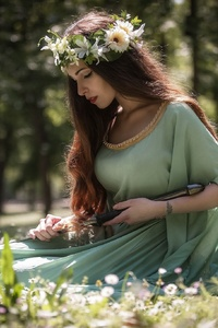 Brunette Depth Of Field Girl Green Dress