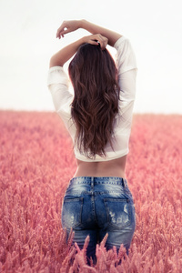 640x1136 Brunette Girl Arms Up Field