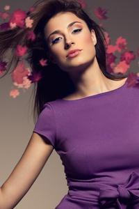 480x854 Brunette Girl Foliage 8k