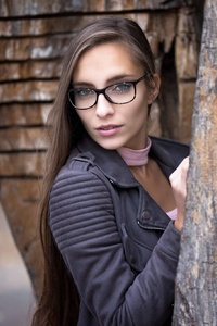 Brunette Girl Glasses Long Hair Model Women