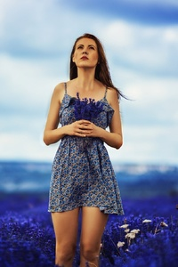 480x854 Brunette Girl In Field Of Blue Flowers