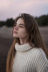 Brunette Girl In Sweater Depth Of Field