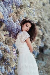 1080x1920 Brunette Girl In White Dress Depth Of Field