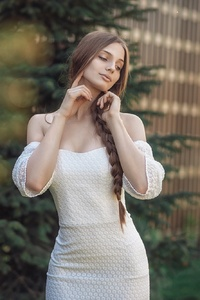 Brunette Girl In White Dress