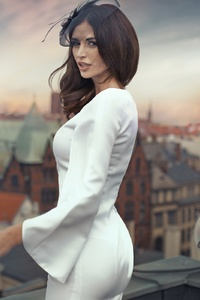 Brunette Girl White Dress
