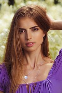 720x1280 Brunette Purple Dress Hands In Hair 4k