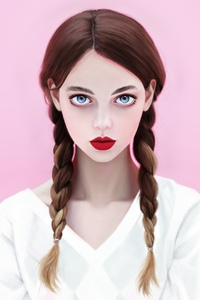 Brunette Red Lipstick Blue Eyes Face With Braids