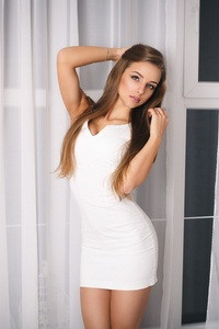 800x1280 Brunette Woman White Dress 4k 5k