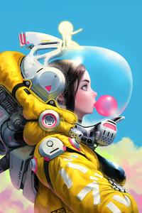 Bubble Gum Space Girl 8k