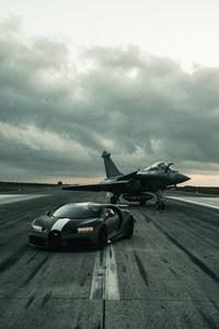 Bugatti Chiron And Dassault Rafale Marine Jet 8k