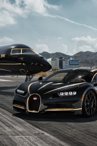 640x1136 Bugatti Chiron And Private Jet