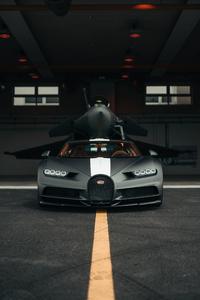 1440x2960 Bugatti Chiron Meets Dassault Rafale Marine Jet 5k