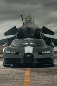Bugatti Chiron Meets Dassault Rafale Marine Jet 8k