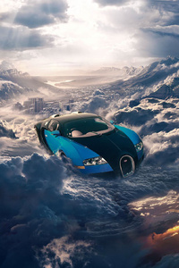 Bugatti Flying In The Sky Clouds Cityscape