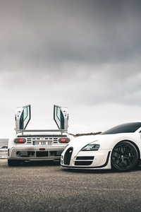 Bugatti Veyron SS And EB110SS By The Sea 5k