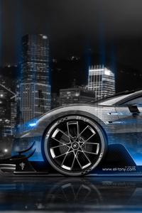 Bugatti Vision Gran Turismo Side Crystal City Night Car 4k