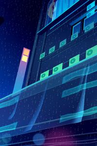 320x480 Buildings Glowing Digital Art 4k