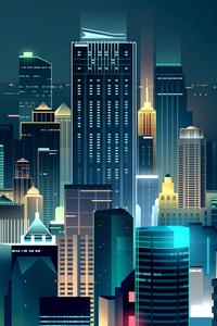 480x800 Buildings Lights Skyline Minimalist