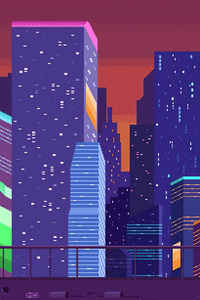 800x1280 Buildings Pixel Art Cityscape 4k