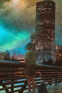 720x1280 Buildings Stars Anime 4k