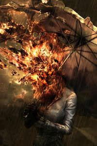 1080x1920 Burning Face Umbrella 4k
