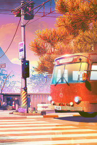 320x568 Bus Stops Anime