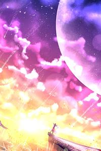 Butterfly Moon Mountain Anime Girl 4k