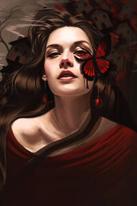 640x960 Butterfly On Girl Face Fantasy Art