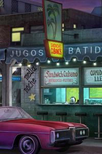 Cabriolet Car Standing Front Of Restaurant Artwork 5k