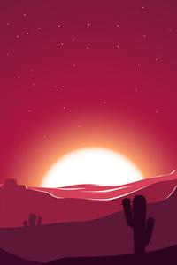 1080x2160 Cactus Sunset Desert Stars Landscape Silhouette