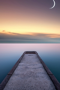 2160x3840 Calm Water And Pier Moon