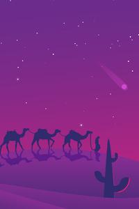 Camels Desert Evening Minimal 8k