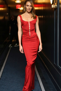 2160x3840 Candice Swanepoel In Red Dress