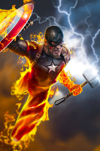 1125x2436 Captain America 4k Burning Hammer