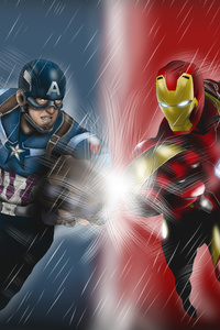 Captain America And Iron Man Artwork 5k